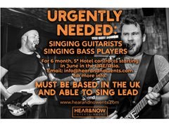 Singing Lead Guitarists needed for 4/5* Hotel Contracts