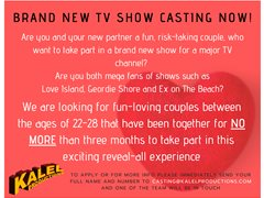 New Couples Aged 22-28 for New TV Pilot