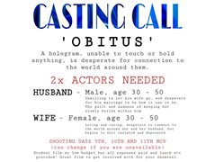 Two Actors Required for Lead Roles in Student Short Film