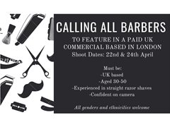 Barbers Aged 50-65 Required for UK Commercial - £350