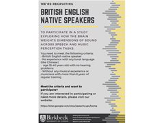 Native English Speaking Musicians Wanted for Brain Research Study