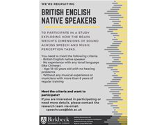 Native English Speaking Musicians Wanted for Brain Research Study - Student