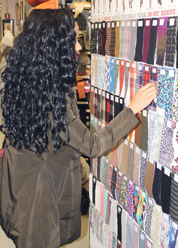 Joanne Sonaike Designer Looking At Multiple Fabric Swatches At Mood Starnow