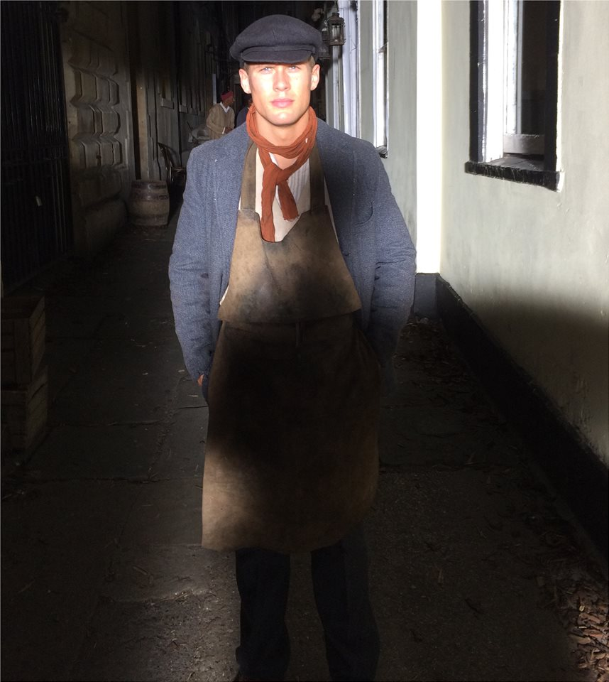 rob h on set for decline and fall dressed as 1920 s workman starnow