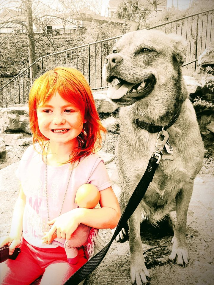 Daughter Savannah and dog Lucy Lou