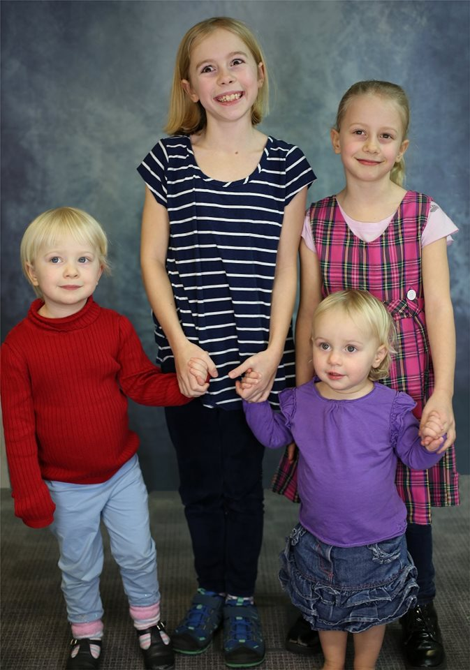 Katie (12), Lettie (9), Jane (6), and Hazel (4).  Photo from Feb 2019 (ages given are current ages).