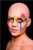Bald Cap with paint splatter makeup