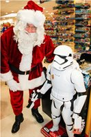 Santa, at a Top London Department Store, with Stormtrooper, Star Wars,