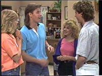 Guy May as David Turner -Neighbours 80s permed mullet