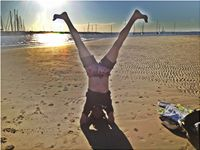 St Kilda beach headstand Feb12