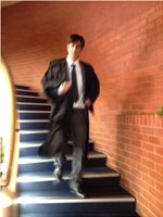 Barrister descending stairs Brighton civic centre Kookaburra song case