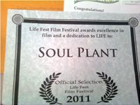 "Official Selection Certificate for my Short ""Soul Plant"""